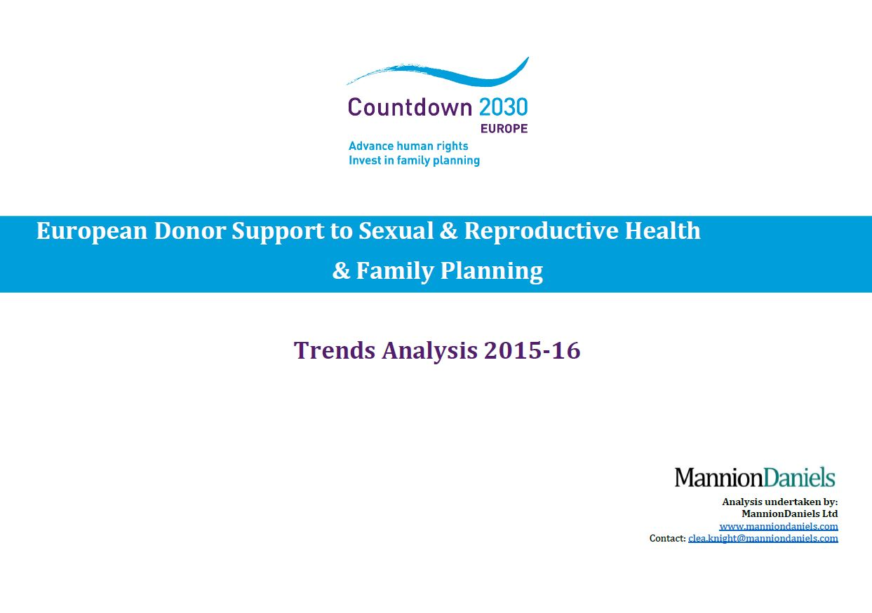 European Donor Support to Sexual & Reproductive Health and Family Planning: Trends Analysis for 2015-2016